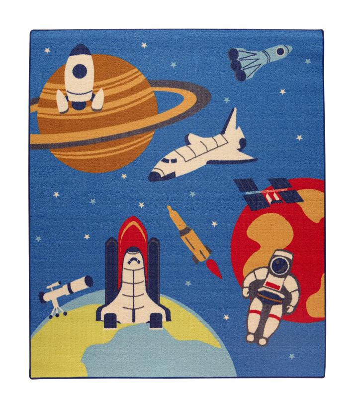 デスクカーペット 男の子 宇宙柄 『スペース』 ブルー 133×170cm(全体)