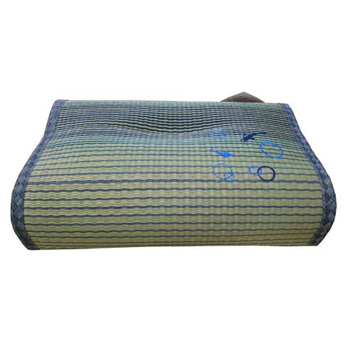 い草低反発枕 熊野 ブルー 約44×29×10cm