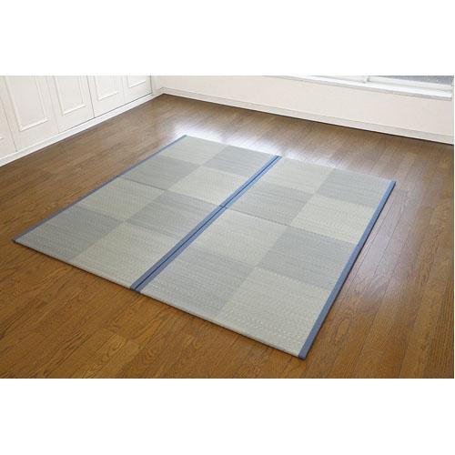 柄入りユニット畳 小谷 ブルー 約82×82×1.4cm
