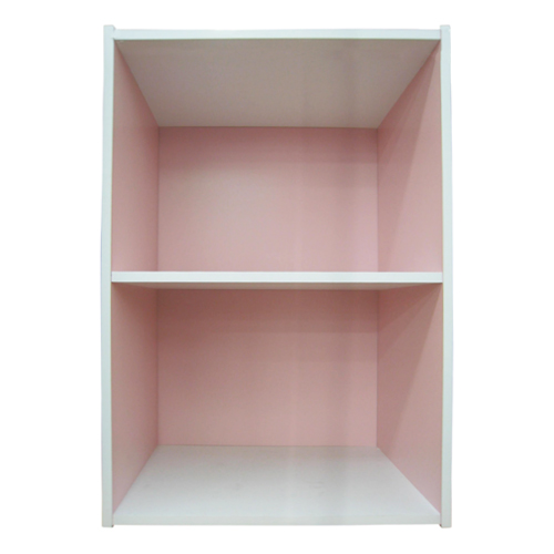 2段カラーボックス ピンク/ホワイト