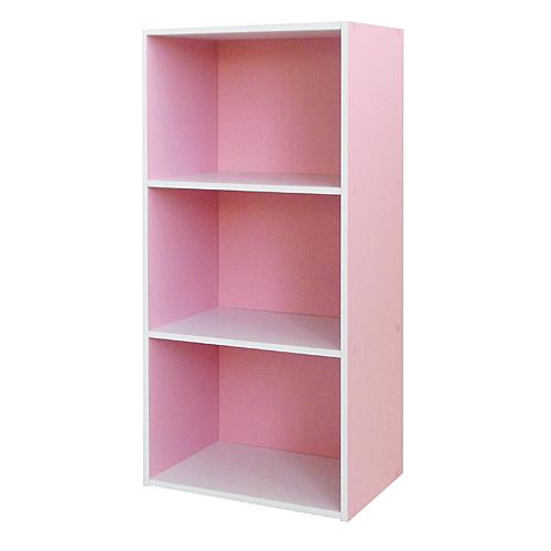 3段カラーボックス ピンク/ホワイト