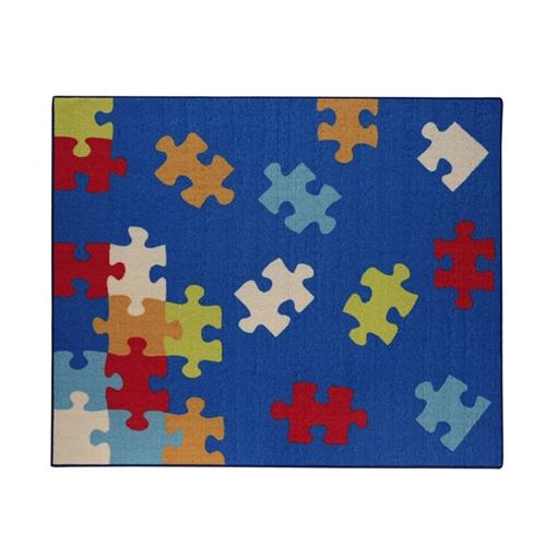 デスクカーペット シンプル パズル柄 『クロス』 ブルー 110×133cm