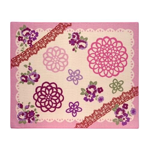 デスクカーペット 女の子 レース柄 『チャーム』 ピンク 110×133cm