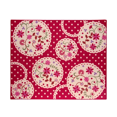デスクカーペット 女の子 花柄 『パミュツー』 レッド 110×133cm