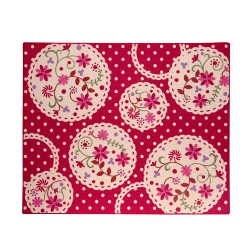 デスクカーペット 女の子 花柄 『パミュツー』 レッド 133×170cm