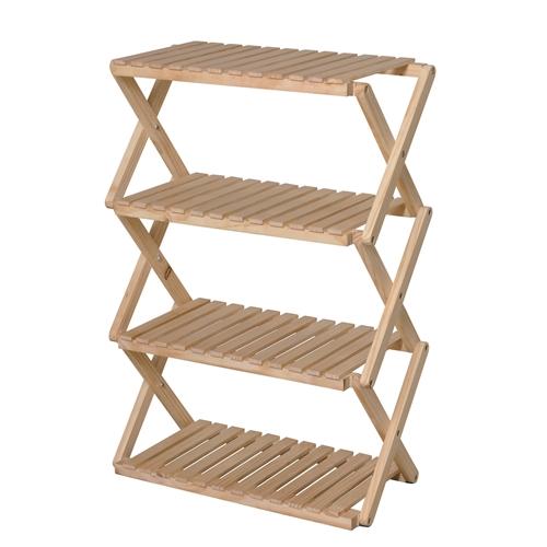 コーナンラック 折り畳み式木製ラック4段 ワイドタイプ