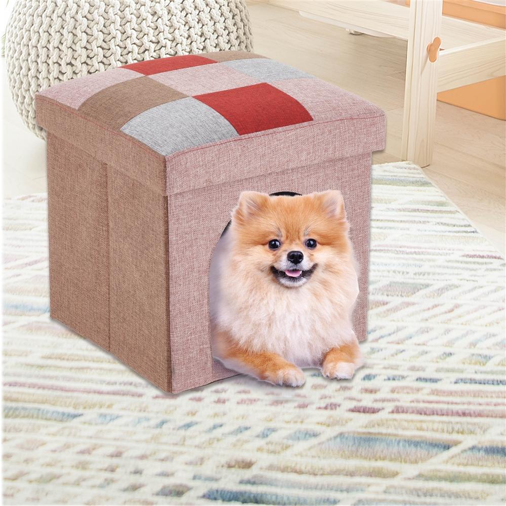 コーナン オリジナル フォールディングハウスベッド モザイク RE KTS12-8280 ペットベッド ペットケージ ペットハウス スツール 椅子 いす