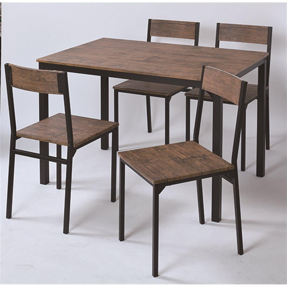 4人掛け用テーブル&チェア5点セット BR/BK
