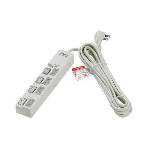 ELPAスイッチ付タップ 5M WLS−LU450MB(W) ホワイト