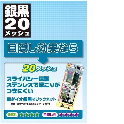 ダイオ化成(Dio) 銀黒マジックネット20メッシュ 91cm×2m 銀/黒