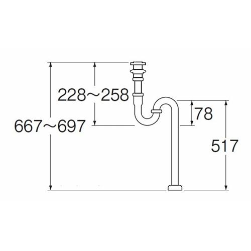 三栄水栓(SANーEI) アフレ付Sトラップ H70−25
