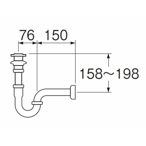 三栄水栓(SANーEI) アフレ付Pトラップ H71−32