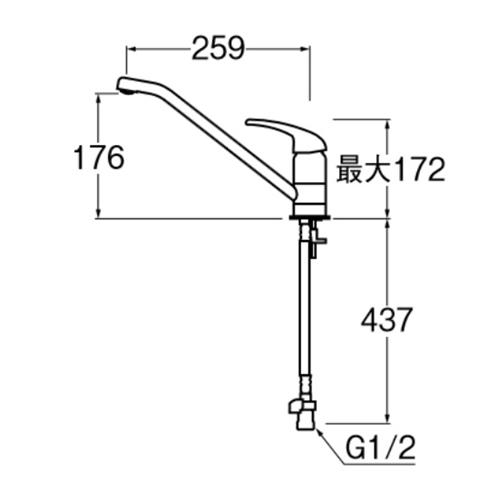 三栄水栓(SANーEI) シングルワンホール K87110TJV