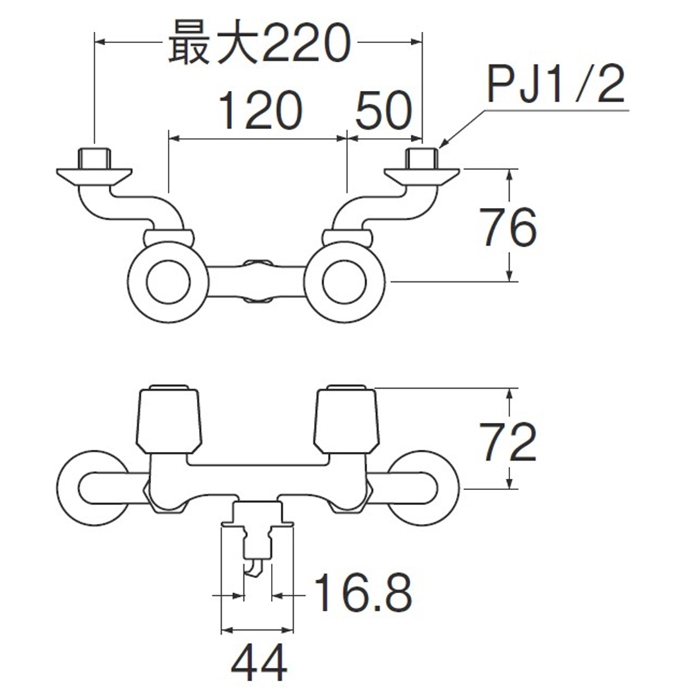 SANEI ツーバルブ洗濯機用混合栓K1101TV-1-LH-13