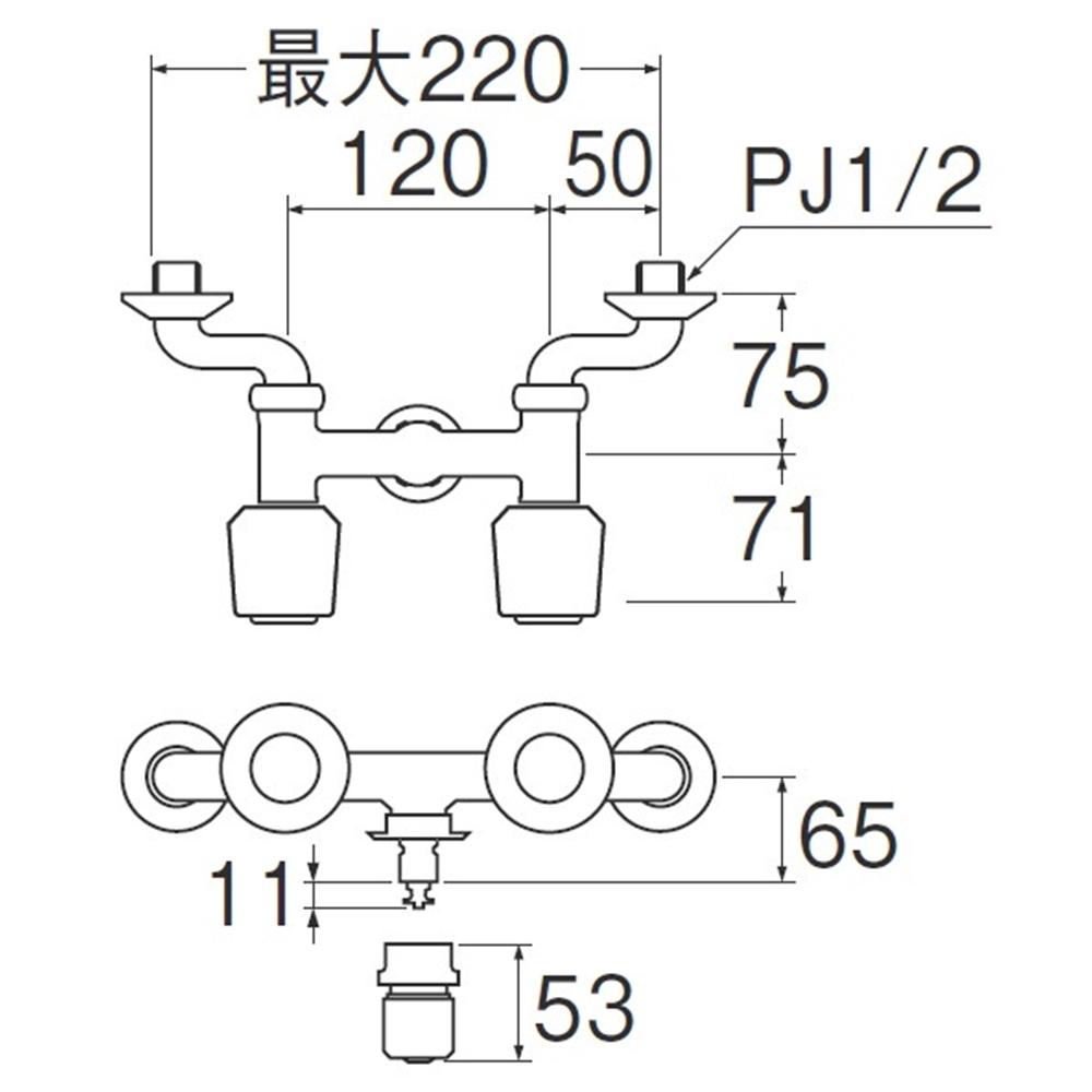 SANEI ツーバルブ洗濯機用混合栓K1311TV-LH-13