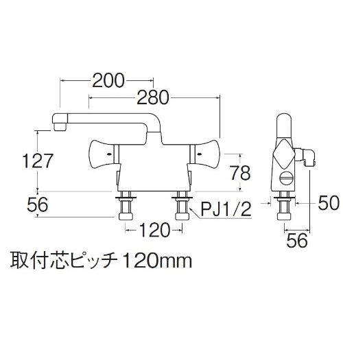 SANEI サーモデッキシャワ混合栓(寒冷地用)SK78011DS9K-13