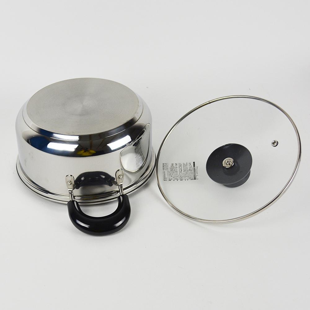 コーナン オリジナル 3層底両手鍋 20cm KHM05-8135 IH200V電磁調理器対応 ガスコンロ直火用