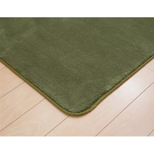 イケヒコ・コーポレーション(IKEHIKO)  ラグ カーペット 3畳 無地 フランネル 『フランアイズ』 モスグリーン 約200×250cm(ホットカーペット対応)
