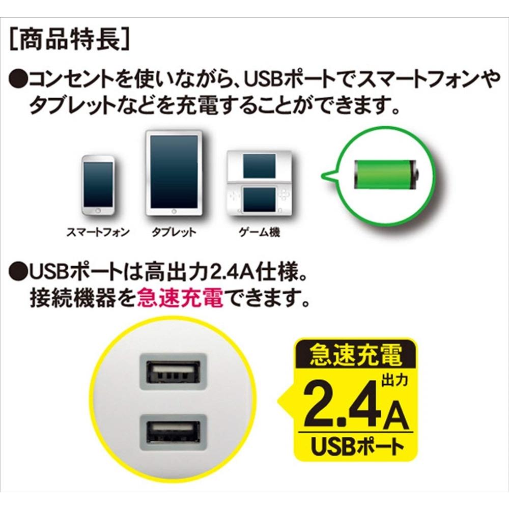 トップランド(TOPLAND) 2個口 コンセントタップ & USB充電 2ポート 急速充電2.4A 延長コード1.5m 合計1400Wまで M4213
