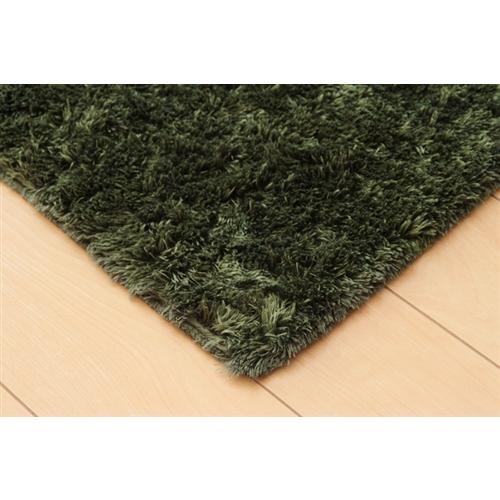 イケヒコ・コーポレーション(IKEHIKO)  シャギー調 選べる7色 無地ラグ 長方形 『ラルジュ』 グリーン 200×250cm