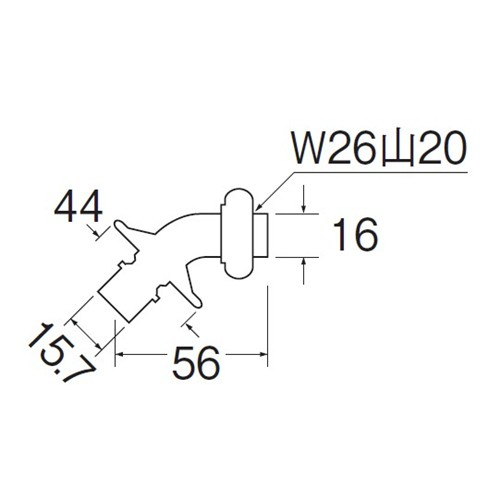SANEI 洗濯機用L型ニップルPY12J-85X-16