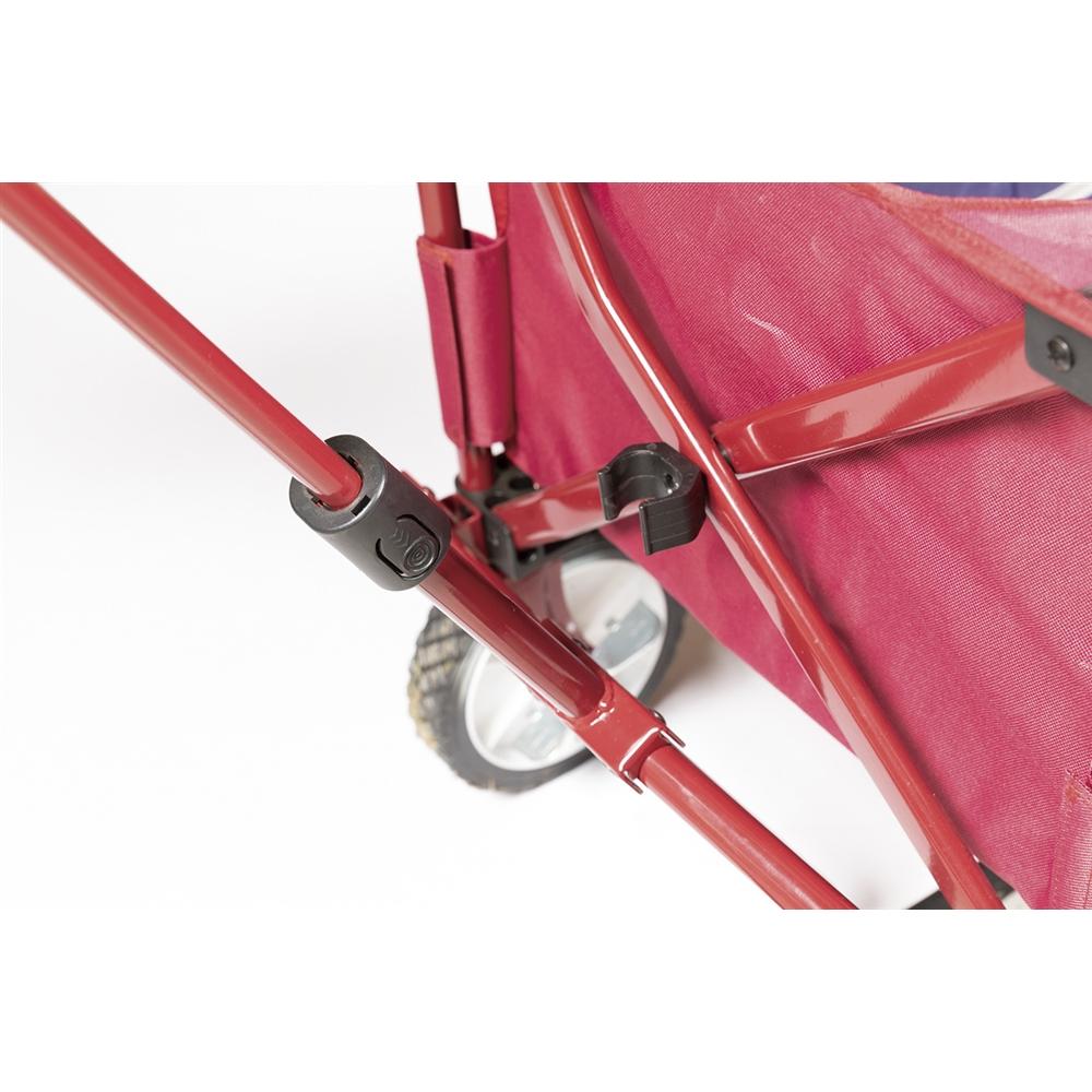 コーナン オリジナル 折畳式 キャリーワゴン ネイビーレッド 使用時サイズ:幅100X奥行47X高さ57cm(91.5cm※ハンドル部含) 収納時サイズ:幅35X奥行16X高さ75cm、 ブレーキ、床板付 ※耐荷重:約90kg