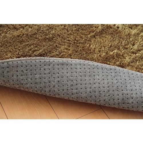 イケヒコ・コーポレーション(IKEHIKO)  シャギー調 選べる7色 無地ラグ 『ラルジュ』 ベージュ 100×150cm 楕円