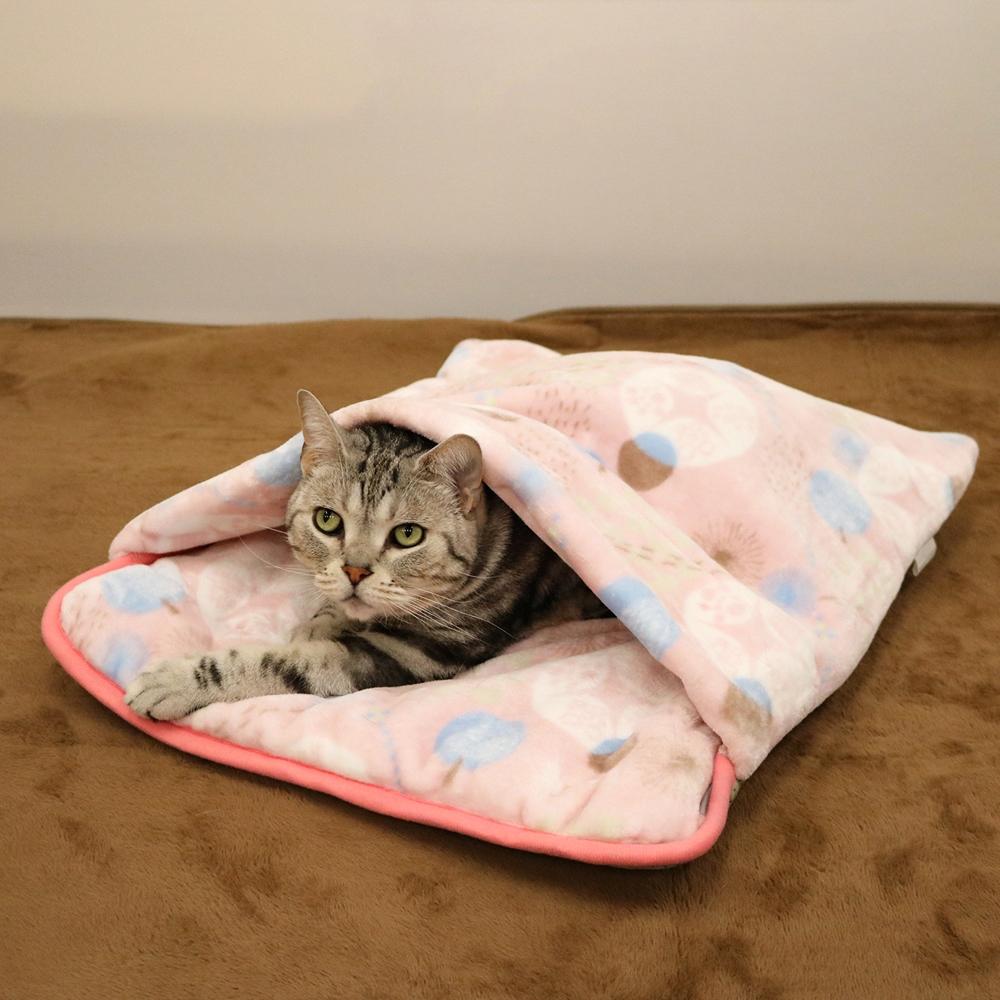 抗菌防臭寝ぶくろクッション ウィンターパーティー ピンク 犬猫冬物