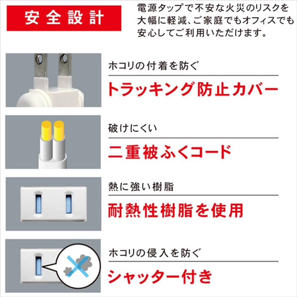 トップランド(TOPLAND) 4個口 コンセントタップ & USB充電 2ポート 急速充電2.4A 延長コード(1.5m) スマホスタンド付き 合計1400Wまで M4244
