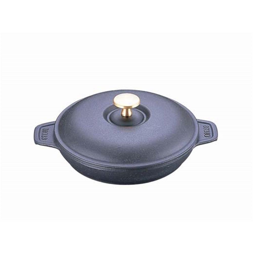 ストウブ ラウンドホットプレート(蓋付) 20cm 黒 40509−579