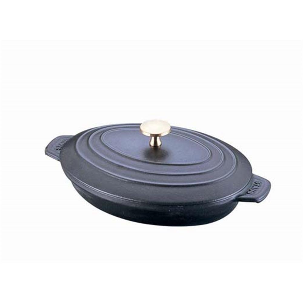 ストウブ オーバルホットプレート(蓋付) 23cm 黒 40509−582