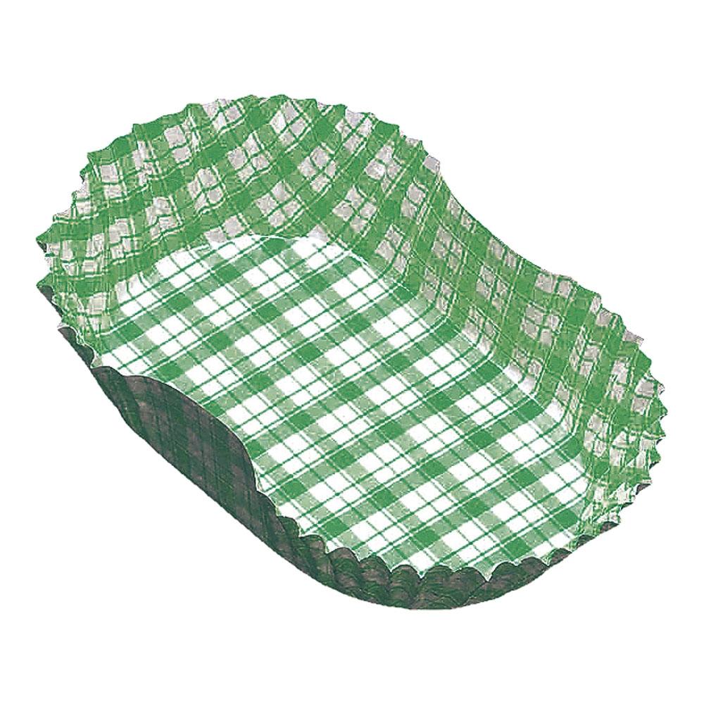 紙カップ ココケース小判型(500枚入) 10号 緑