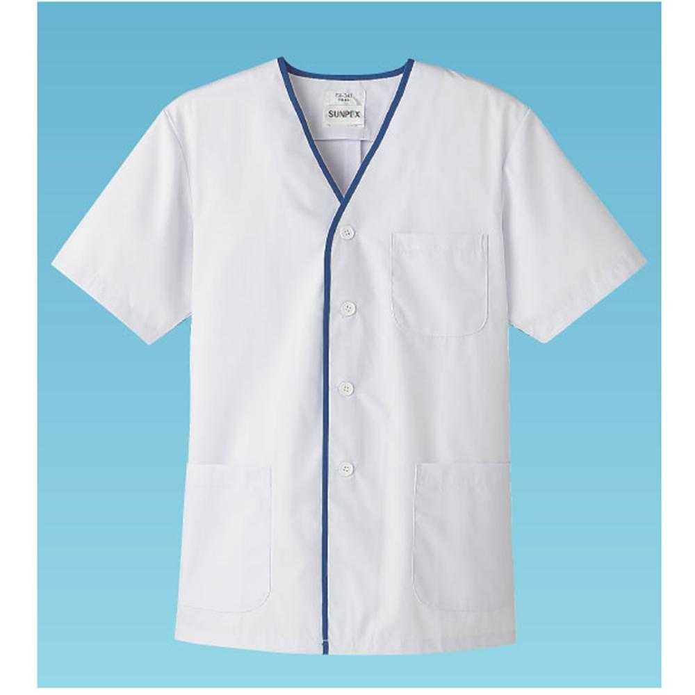 男性用デザイン白衣 半袖 FA−347 3L