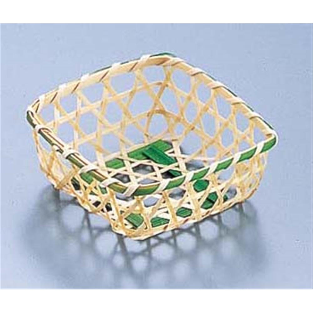 竹製 珍味籠(10個入) 3088 ミニ角8 グリーン