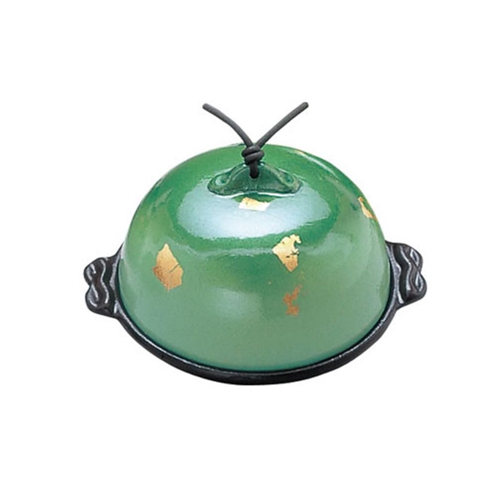 アルミ高瀬陶板鍋 金彩・緑 中 15cm