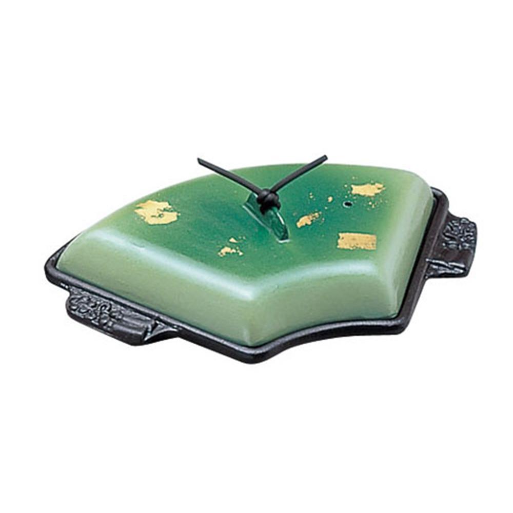 アルミ扇陶板鍋 金彩・緑