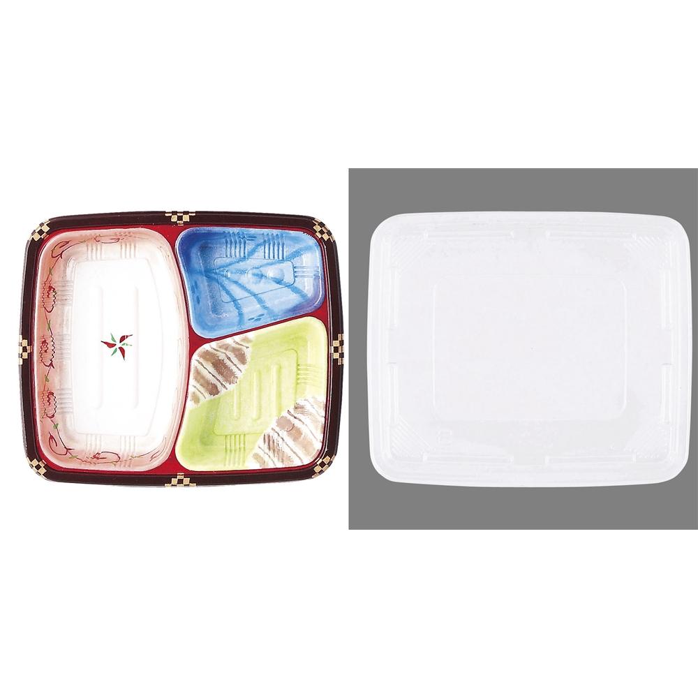 ワンウェイ 耐熱お弁当容器 T−24 三彩(蓋付・50セット入)