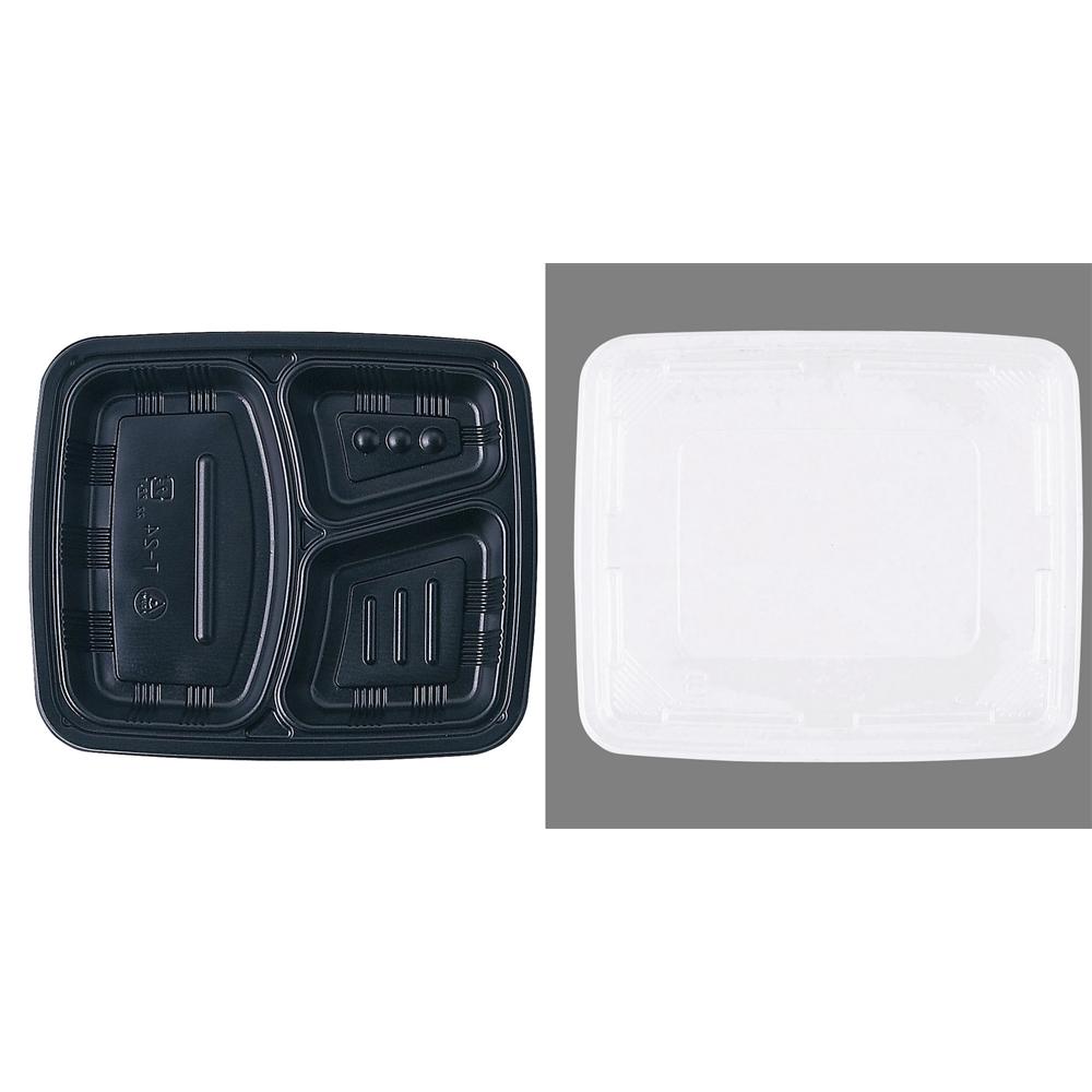 ワンウェイ 耐熱お弁当容器 T−24 黒 (蓋付・50セット入)