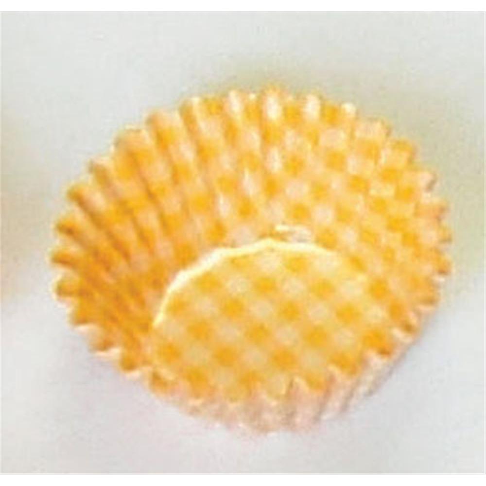 オーブンケース チェック柄(250枚入) 4号深口 黄