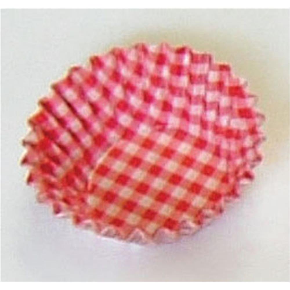 オーブンケース チェック柄(250枚入) 5号深口 赤