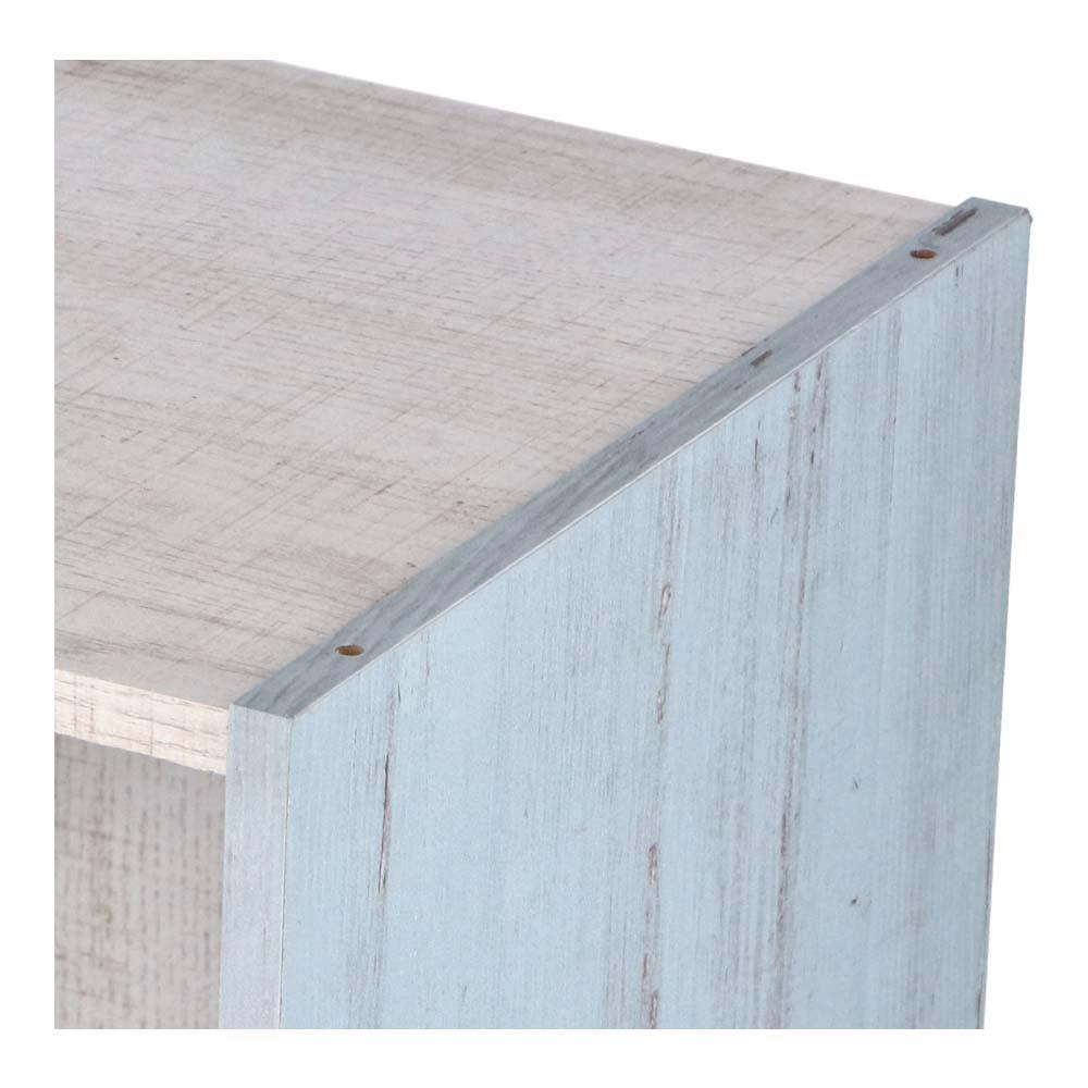 コーナン オリジナル 2段カラーボックス ウッド ホワイト+ブルー 約幅41.8X奥行29X高さ59.2cm