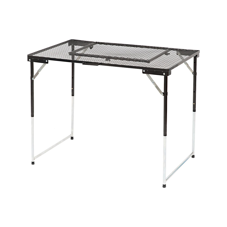 コーナン オリジナル BBQメッシュテーブル 幅87.5X奥行56.5X高さ68/60.5/42.5cm 高さ3段階調整可能 耐荷重8kg