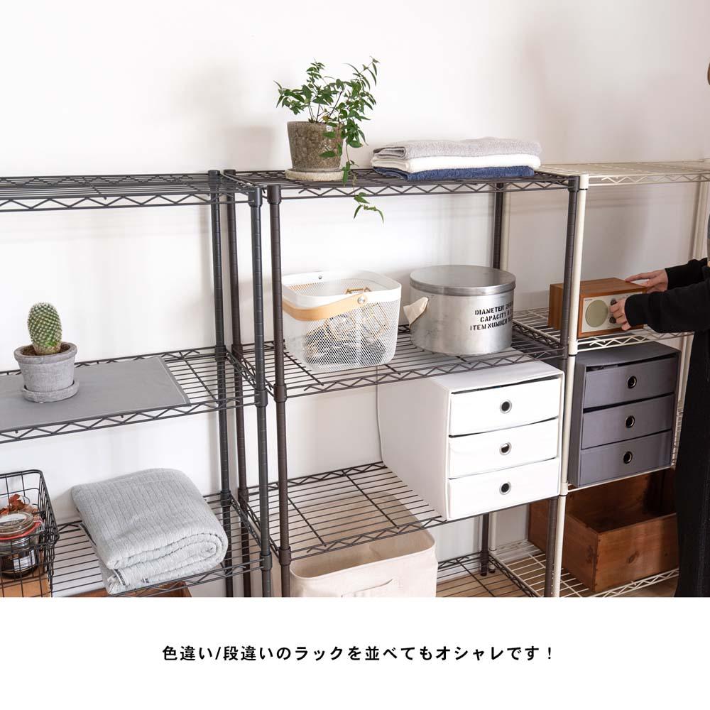 【 めちゃ早便 】コーナン オリジナル カラーラック BK7512 4段 ブラック ※キャスターの取付はできません