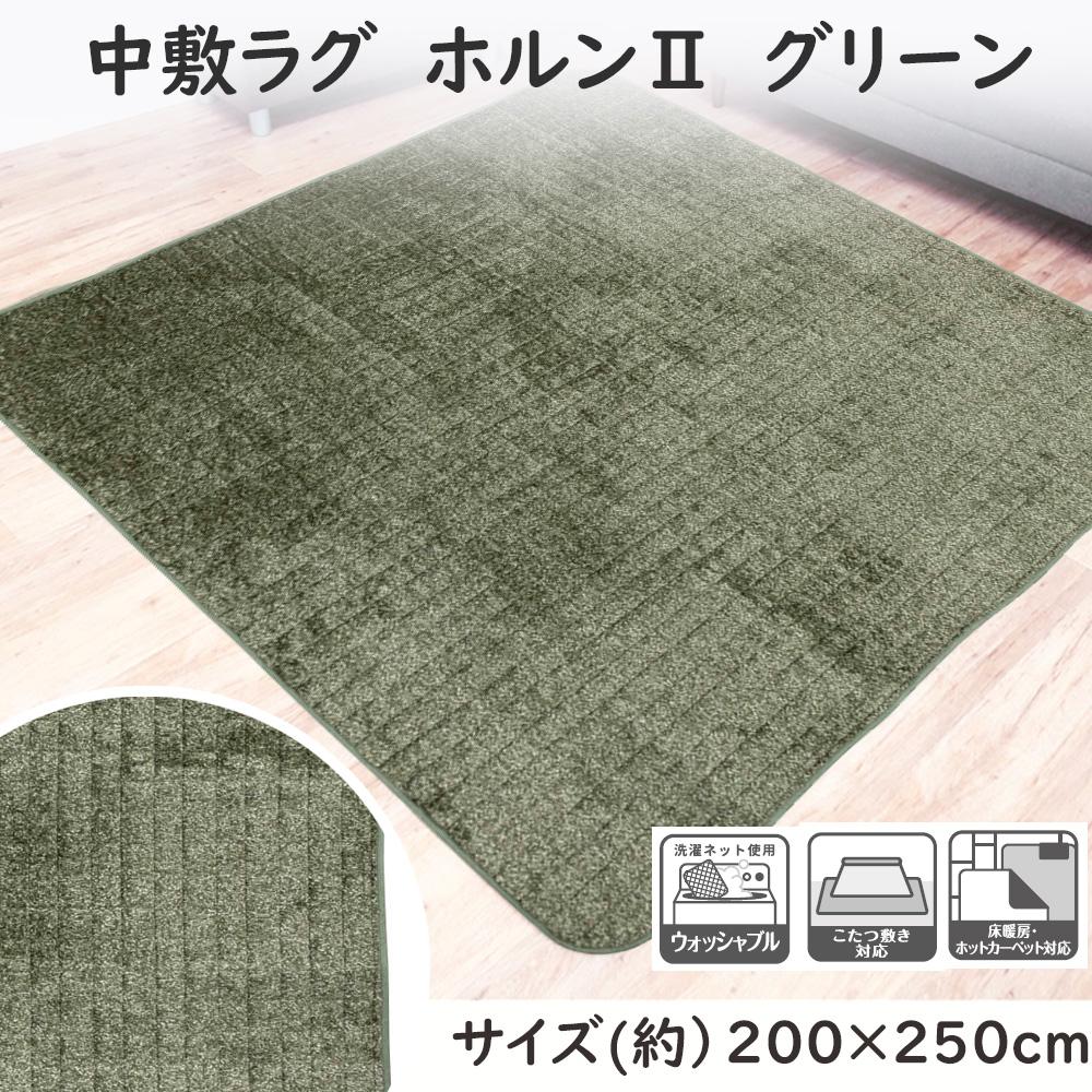 コーナン オリジナル 中敷ラグ ホルン�U  グリーン 約幅200×奥行250cm