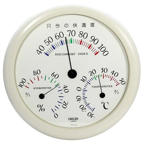 CRECER 不快指数計付温湿度計ホワイト CF−310W
