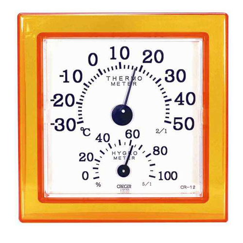 CRECER 温湿度計クリアミニ オレンジ CR−12O