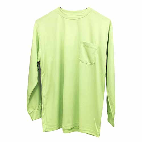 紳士長袖丸首Tシャツ ライトグリーン M FS13−KTN−B