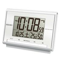 温湿度計付電波置時計 SQ698S 白パール