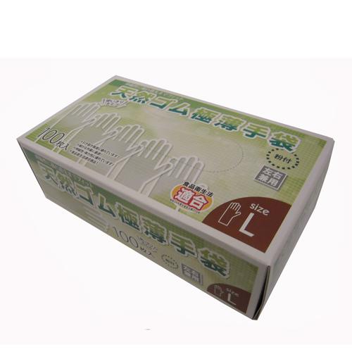 ケース販売  天然ゴム極薄手袋L 100枚 KW04−4874 (10個入り)