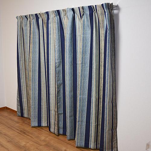 コーナン オリジナル カーテンレイス ブルー 2枚組 約幅100×丈135cm